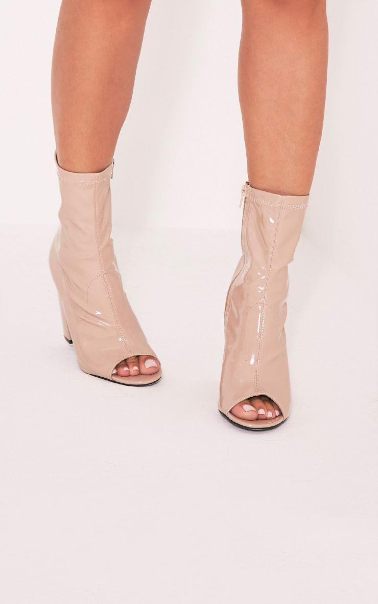 Malina Nude Patent Peep Toe Heeled Ankle Boots 1
