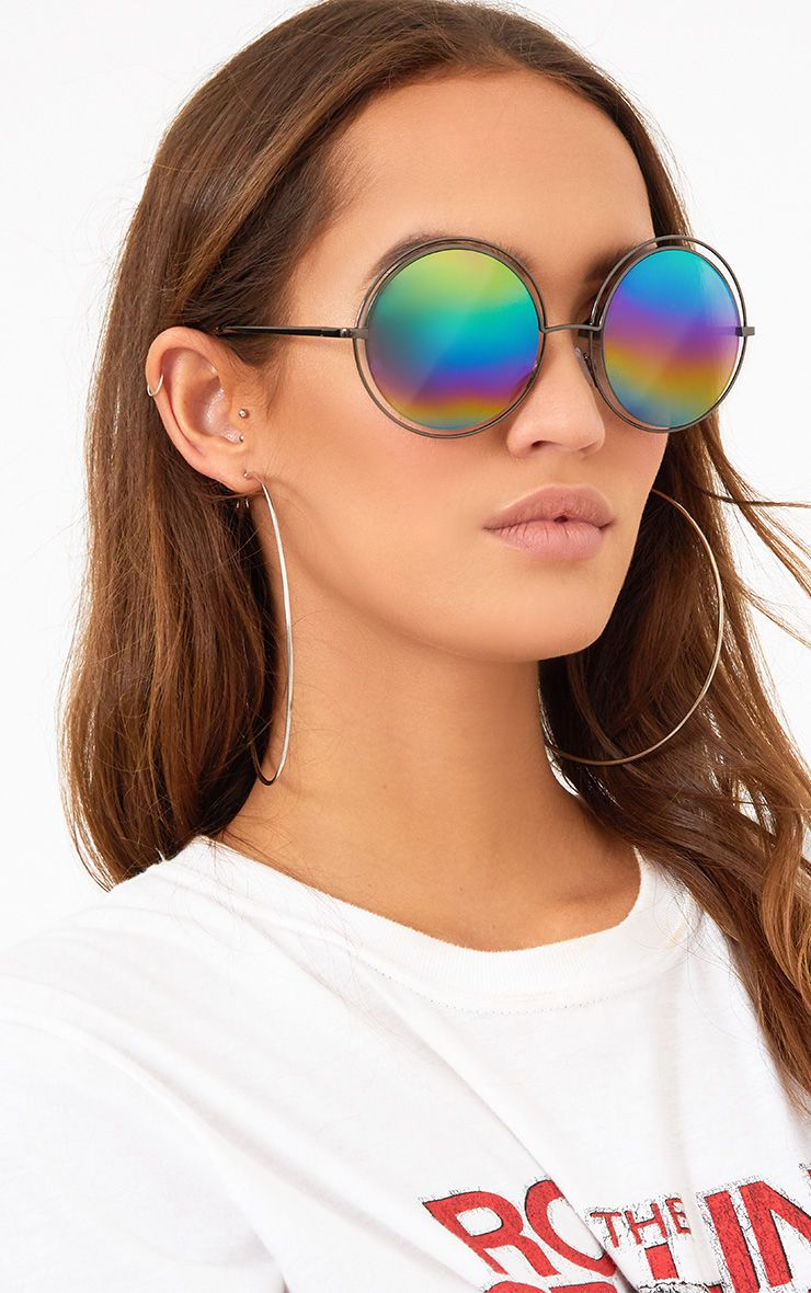 Rainbow Lens Doubled Frame Round Sunglasses