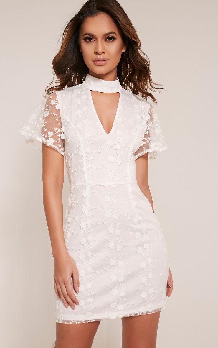 Catrina White Floral Lace Choker Bodycon Dress 1