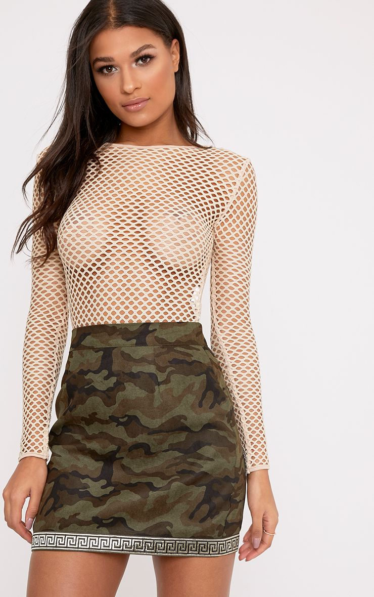 Bonnie Khaki Metallic Trim Camo Mini Skirt