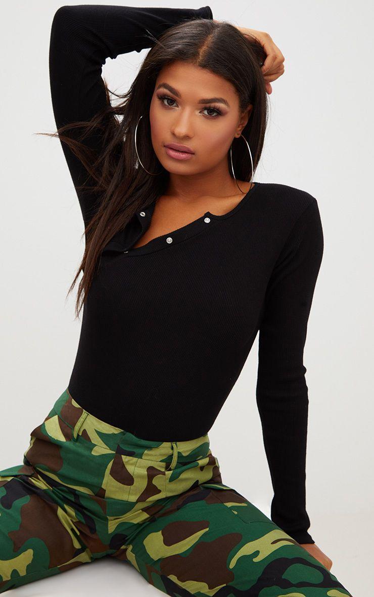 Black Rib Popper Front Thong Bodysuit