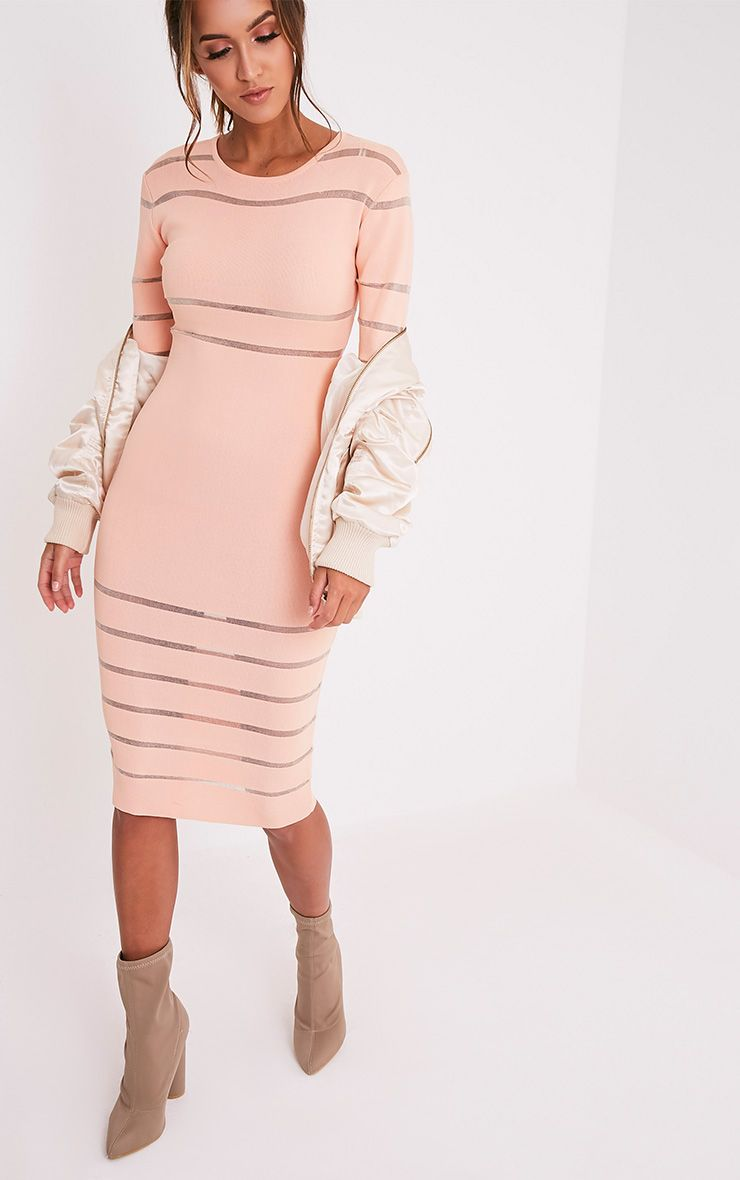 Serene Nude Mesh Panel Knitted Midi Dress 1
