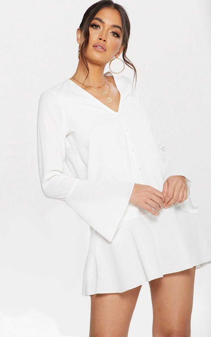 White Button Frill Hem Shift Dress
