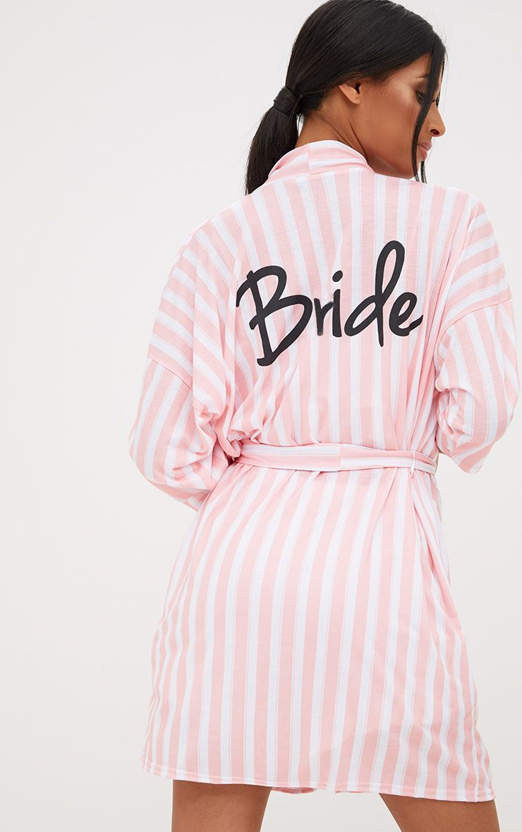 Pink Stripe Bride Dressing Gown