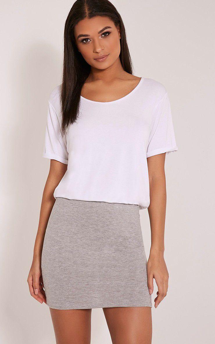 Basic Grey Jersey Mini Skirt