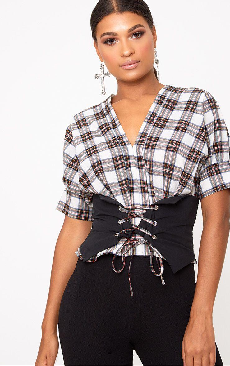 Cream Check V Neck Corset Detail Shirt