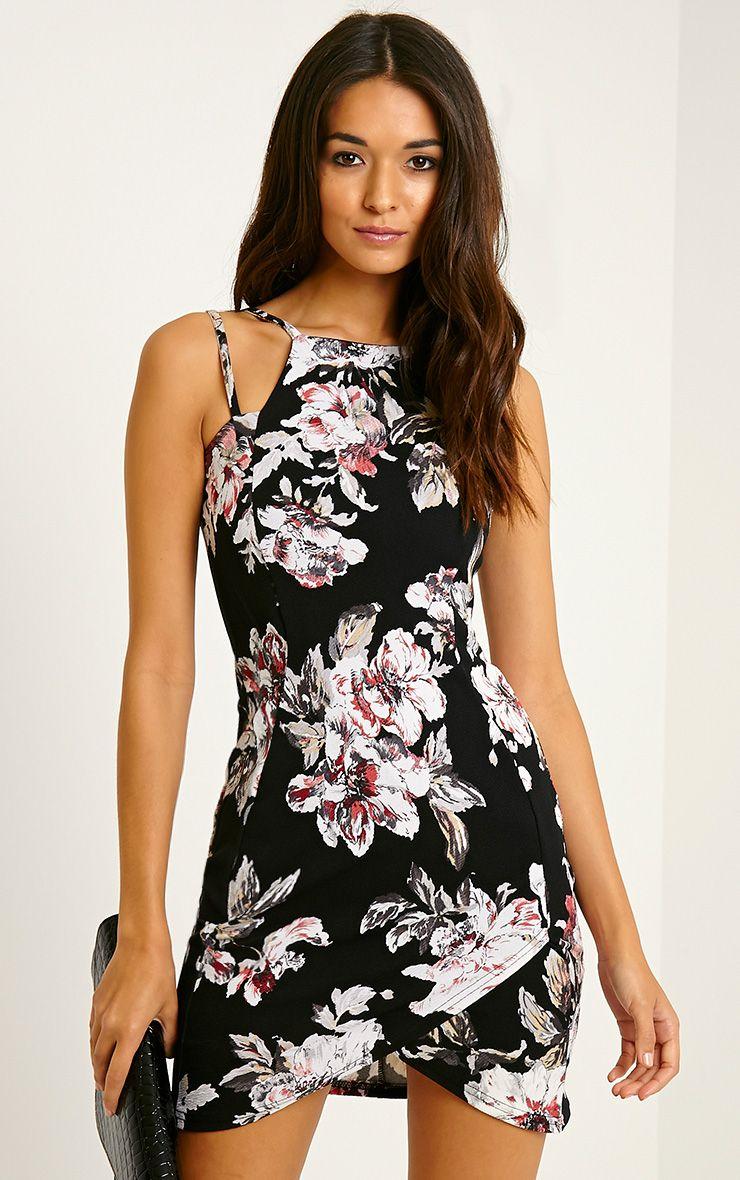 Ashleigh Burgundy Crepe Floral Curved Hem Mini Dress 1