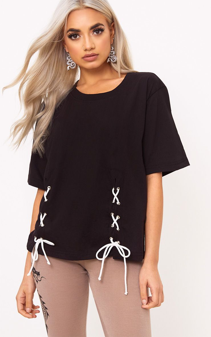 Hanima Black Lace Up Detail T Shirt