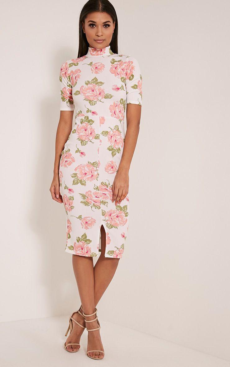Sana White Rose Print Midi Dress 1