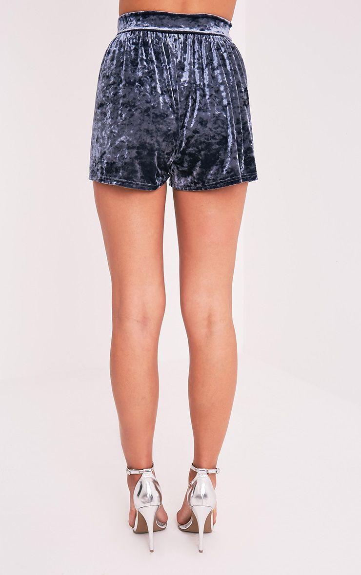 Lucilla Grey Crushed Velvet Floaty Shorts 5