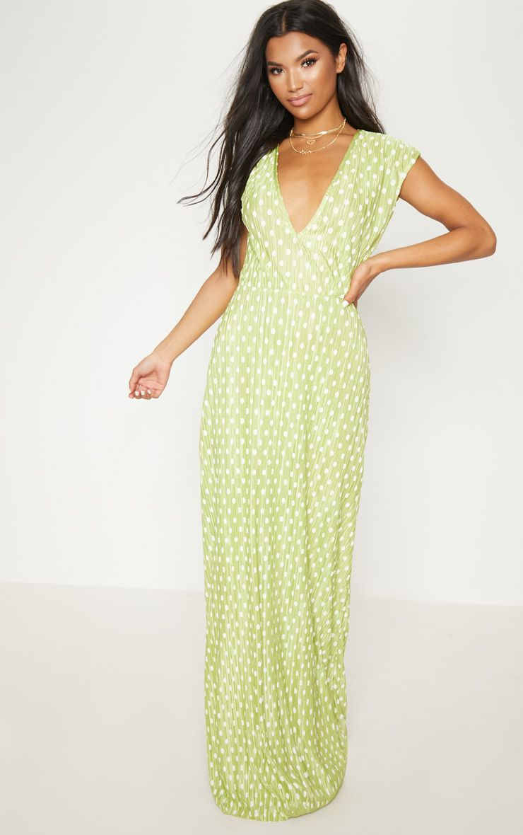 Lime Polka Dot Plisse Plunge Maxi Dress