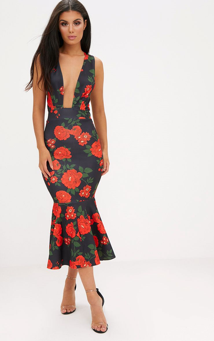 Black Floral Plunge Fishtail Midi Dress