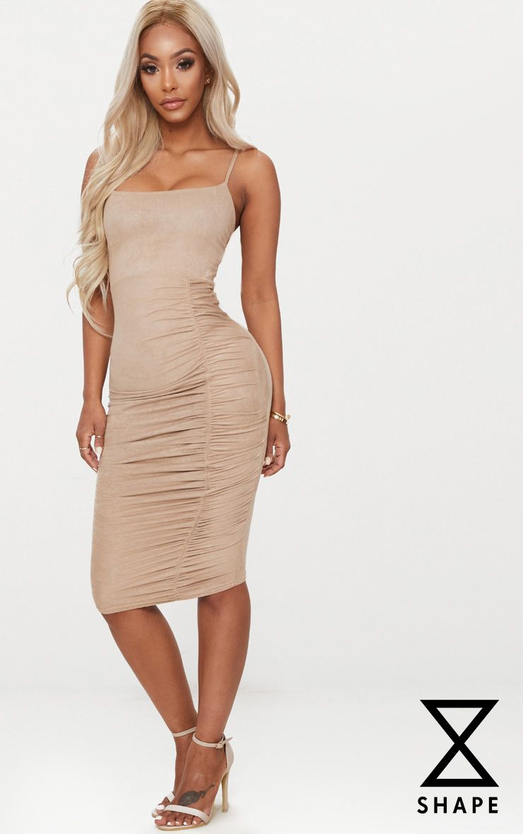 Shape Taupe Faux Suede Ruched Midi Dress