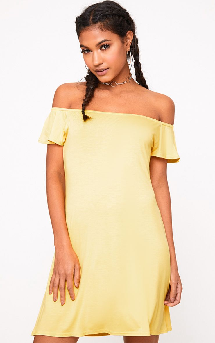 Yellow Jersey Bardot Swing Dress