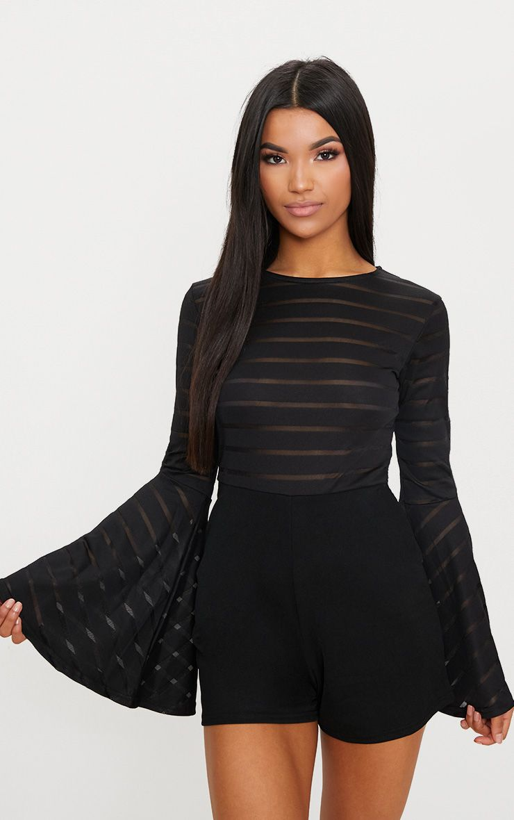 Shantall Black Burn Out Mesh Bell Sleeve Playsuit