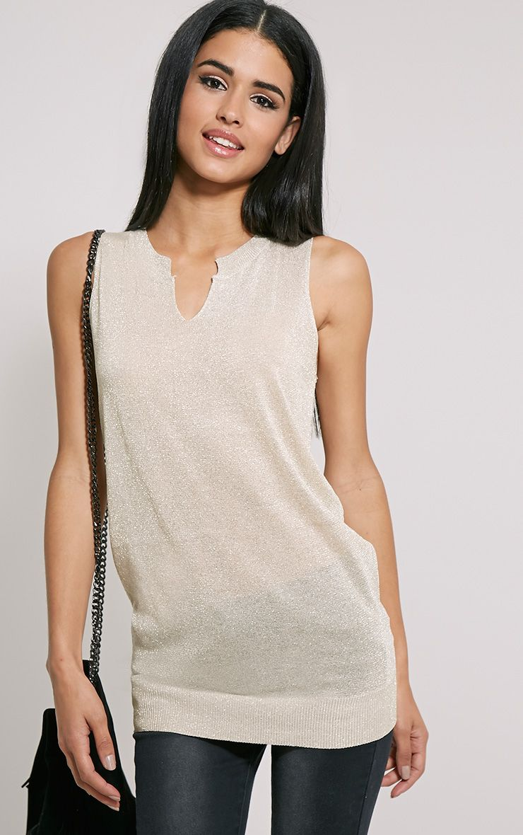 Ceara Taupe Sleeveless Metalic Knitted Vest 1