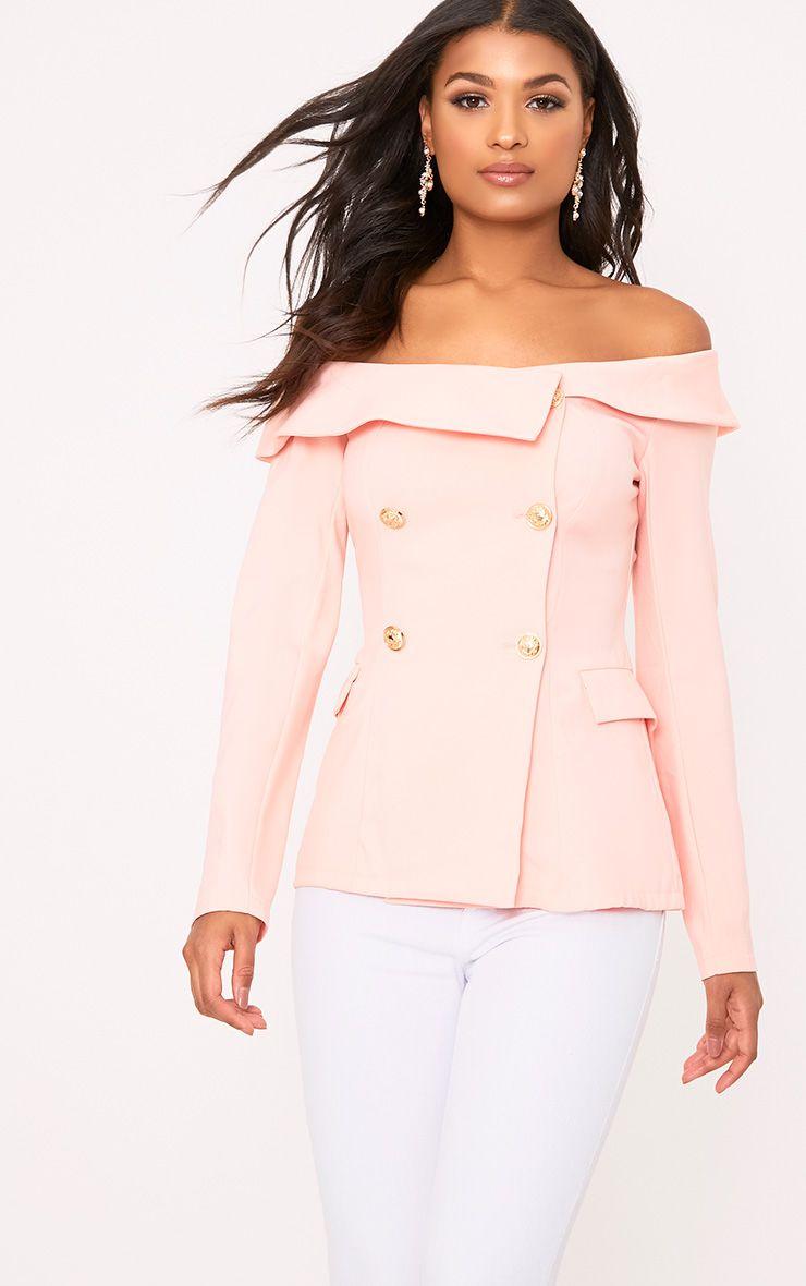 Malani Light Pink Bardot Military Style Blazer