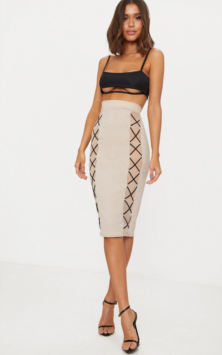 Nude Mesh Panel Lace Up Midi Skirt