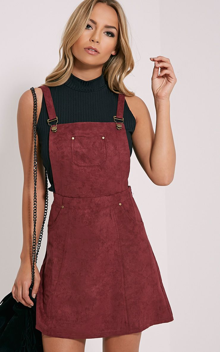 Lumie Burgundy Faux Suede Pinafore Dress