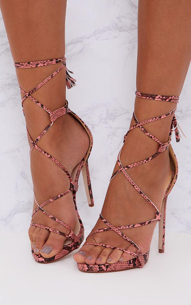 Pink Snake Print Tassel Lace Up Heels