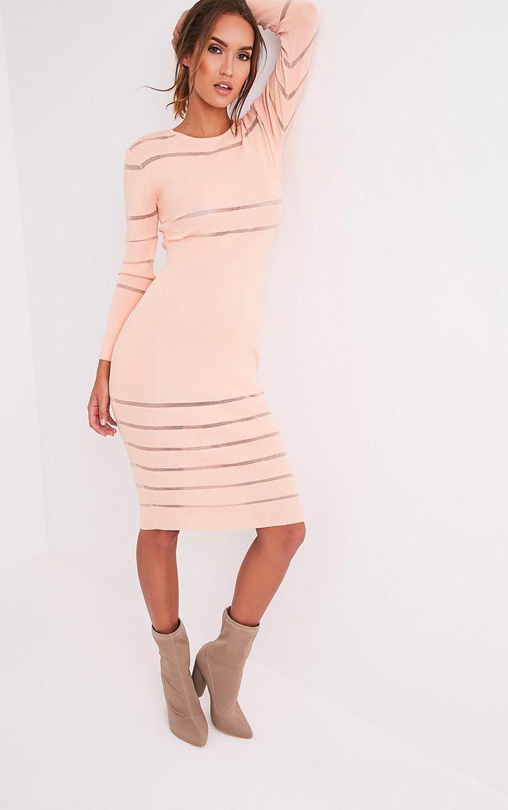 Serene robe midi tricotée à empiècements en tulle couleur chair 4