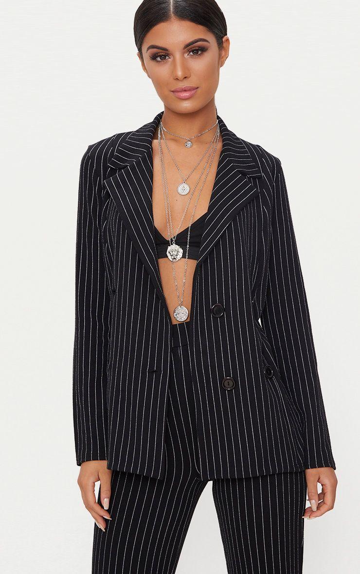 Black Pinstripe Double Breasted Blazer