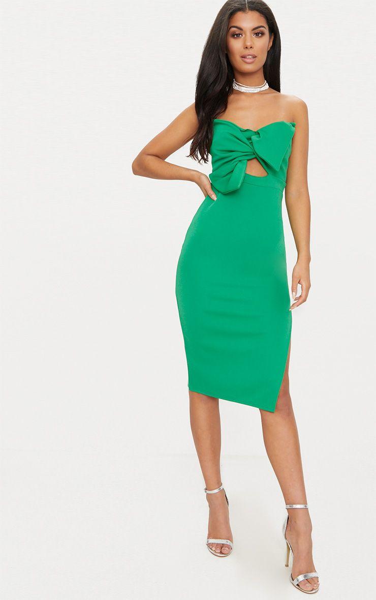 Bright Green Bow Detail Scuba Midi Dress | PrettyLittleThing
