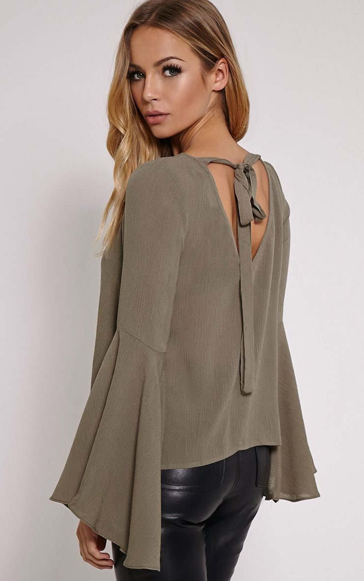 Leesah Khaki Flare Sleeve Cut Out Back Top 1