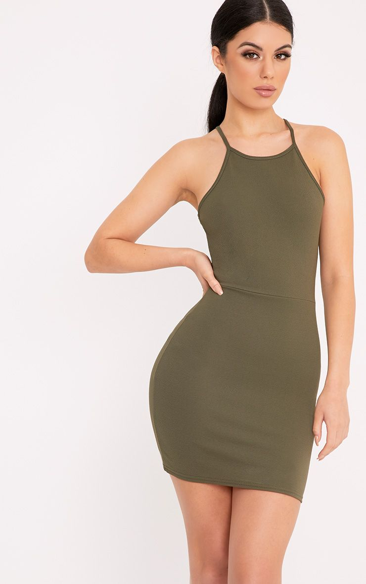 Elouise Khaki Strappy Bodycon Dress