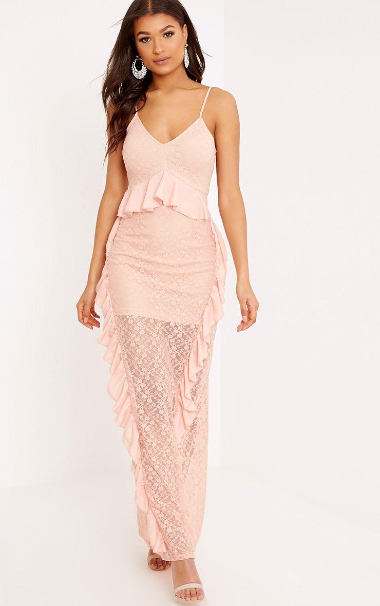 Pheobie Blush Lace Frill Detail Maxi Dress
