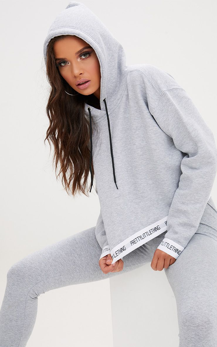 Grey PrettyLittleThing Trim Cropped Hoodie