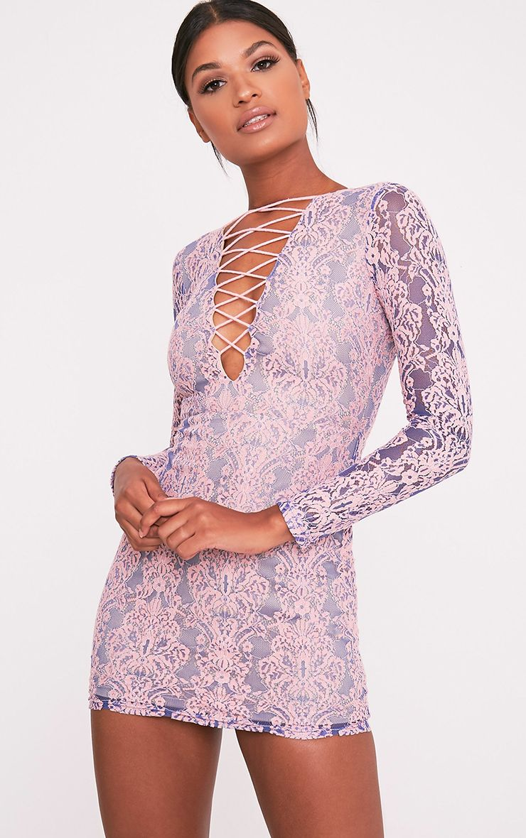 Erina Purple Lace Up Bodycon Dress