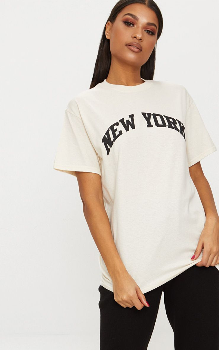 T-shirt nude oversized à slogan New York
