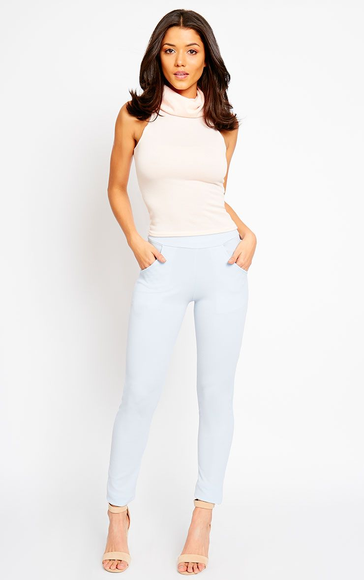 Sage Powder Blue Crepe Cigarette Trousers 1