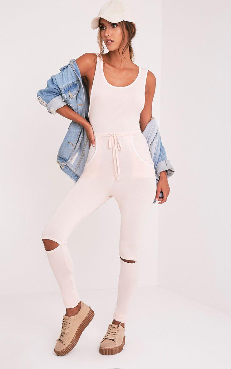 Taran Nude Slit Knee Runner Style Jumpsuit 1