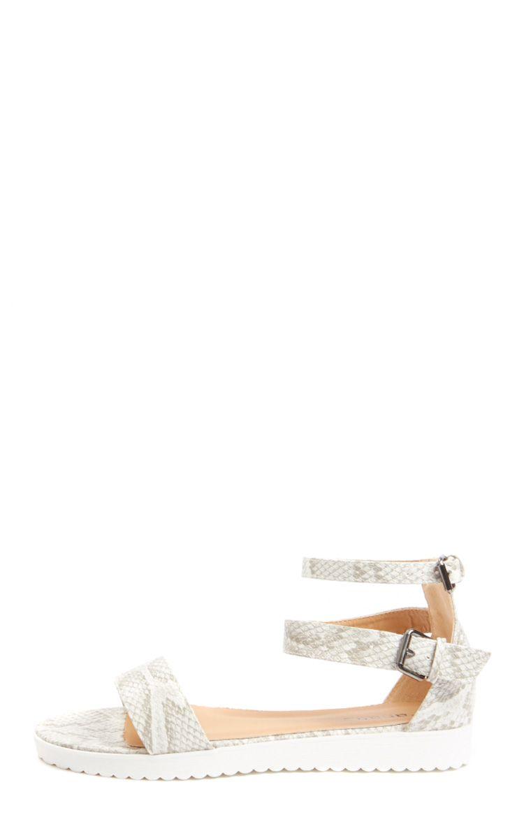 Gwen Snake Print Leather Lizard Sandal 1