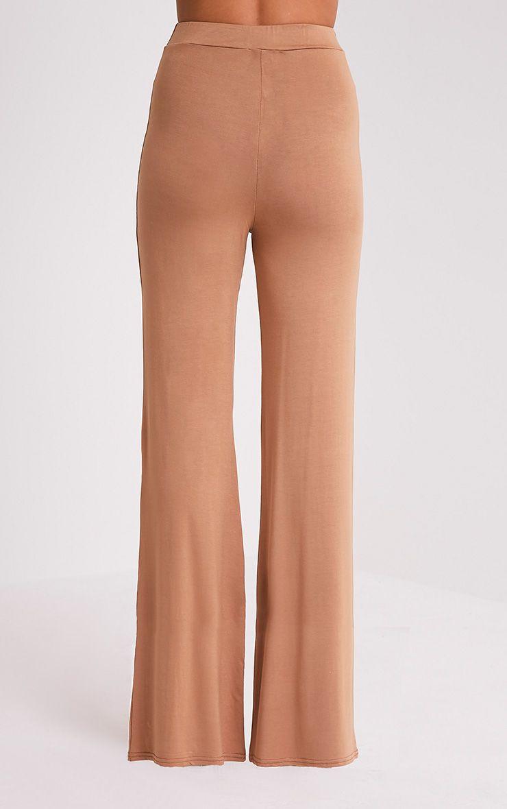 Basic pantalon large en jersey camel 5