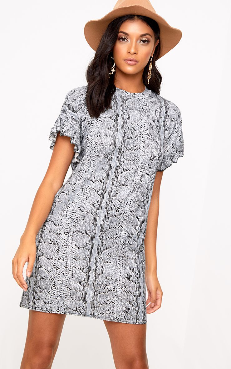 Grey Snake Frill Sleeve T Shirt Dress