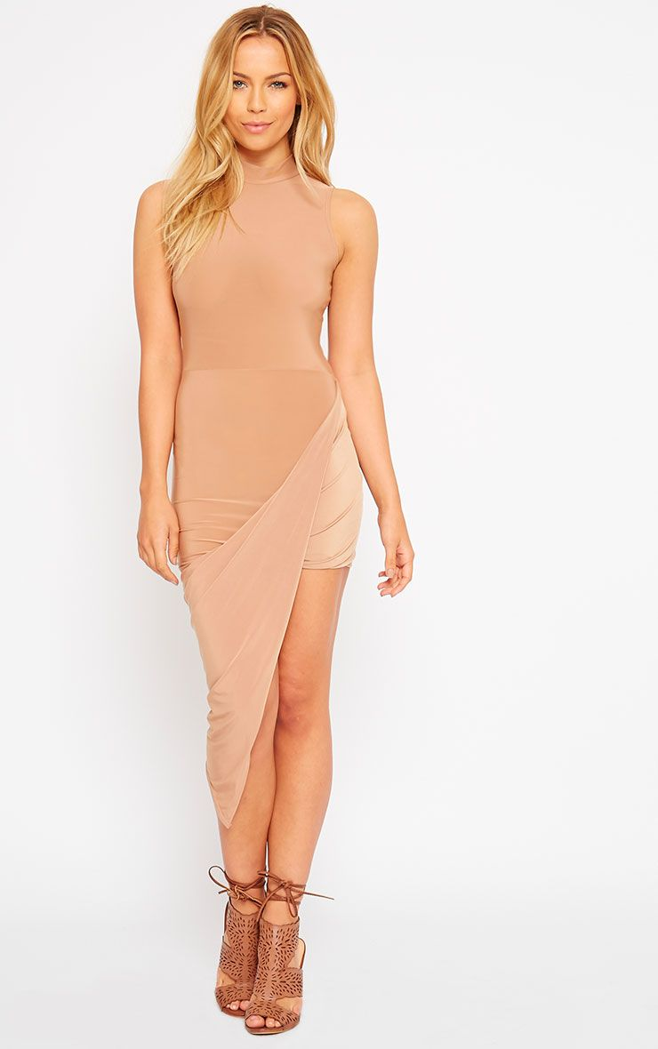Prim Camel Slinky Drape Asymmetric Dress 1