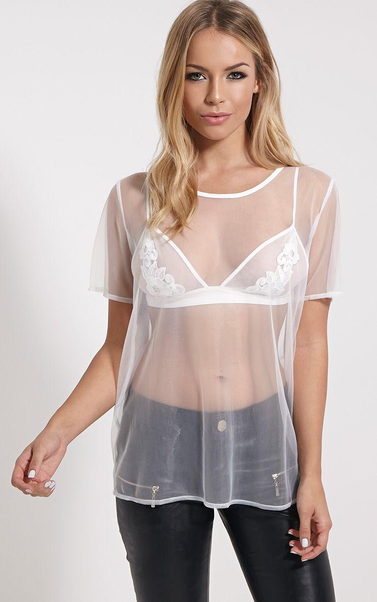 Andria White Mesh T-Shirt 1