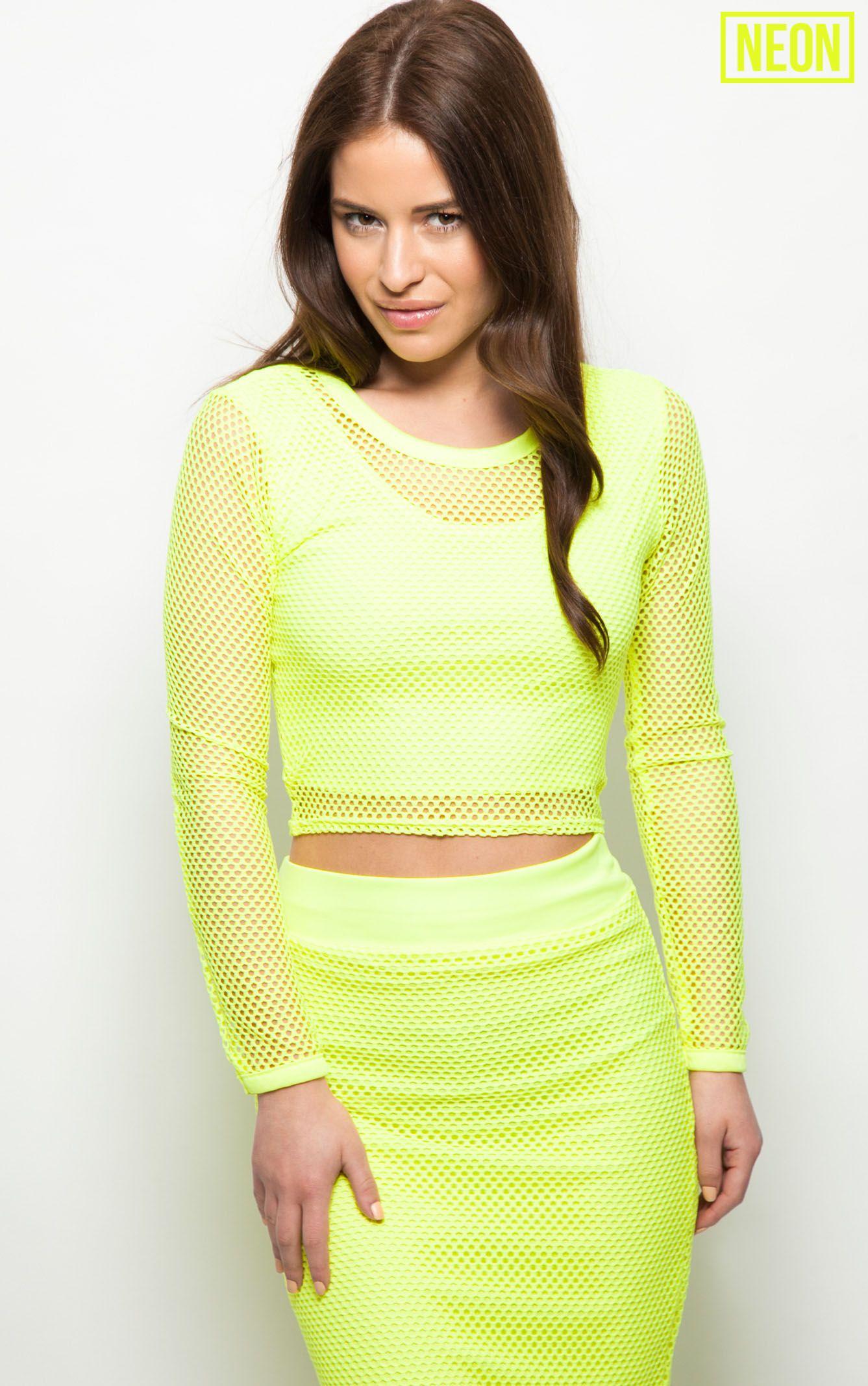Eleanor Neon Yellow Fishnet Long Sleeve Crop Top 1