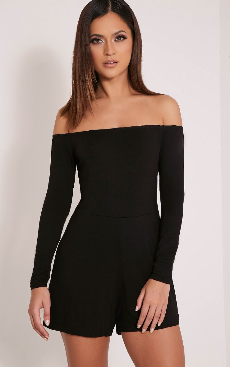 Basic Black Bardot Jersey Playsuit