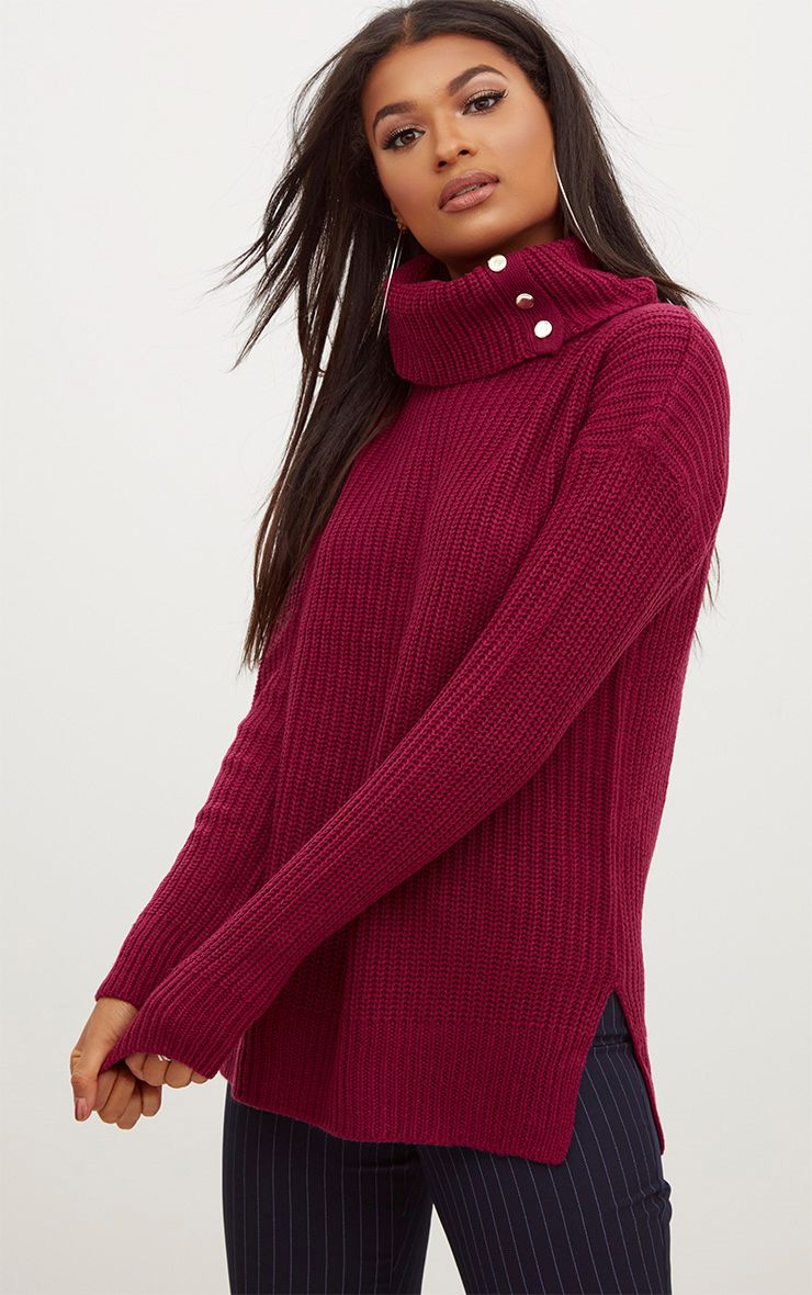 Burgundy Roll Neck Button Detail Jumper