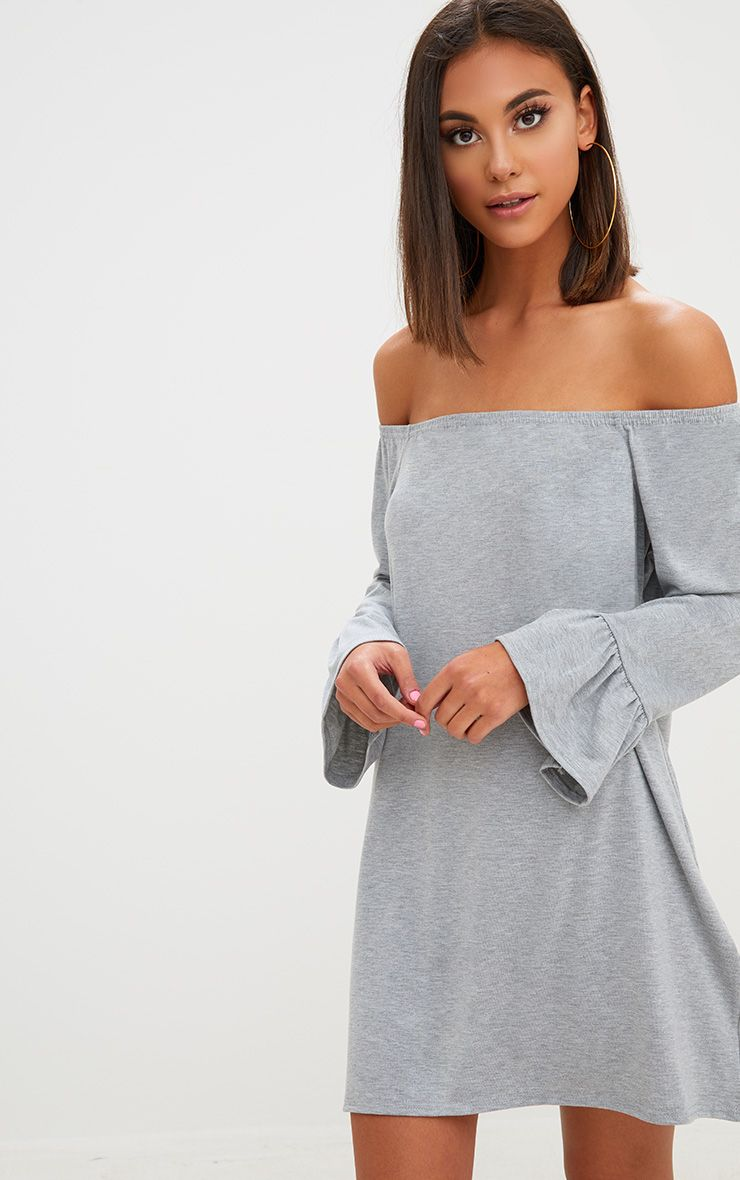 Grey Marl Jersey Bardot Long Sleeve Shift Dress