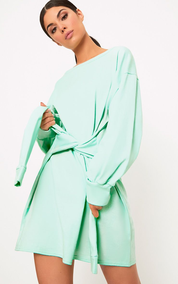 Kareena Mint Tie Waist Sweater Dress