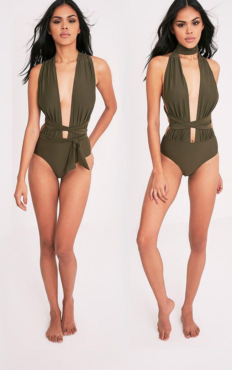 Amanda Khaki Multiway Swimsuit