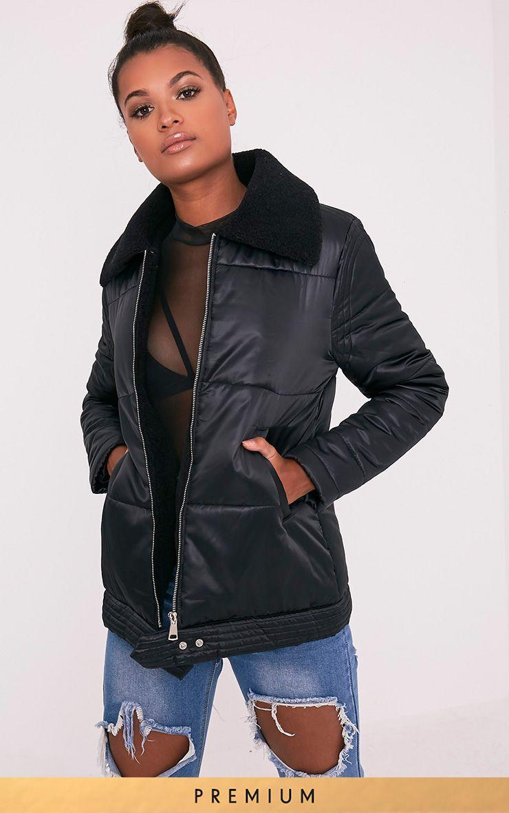 Brai Black Satin Faux Shearling Collar Puffer Coat 1