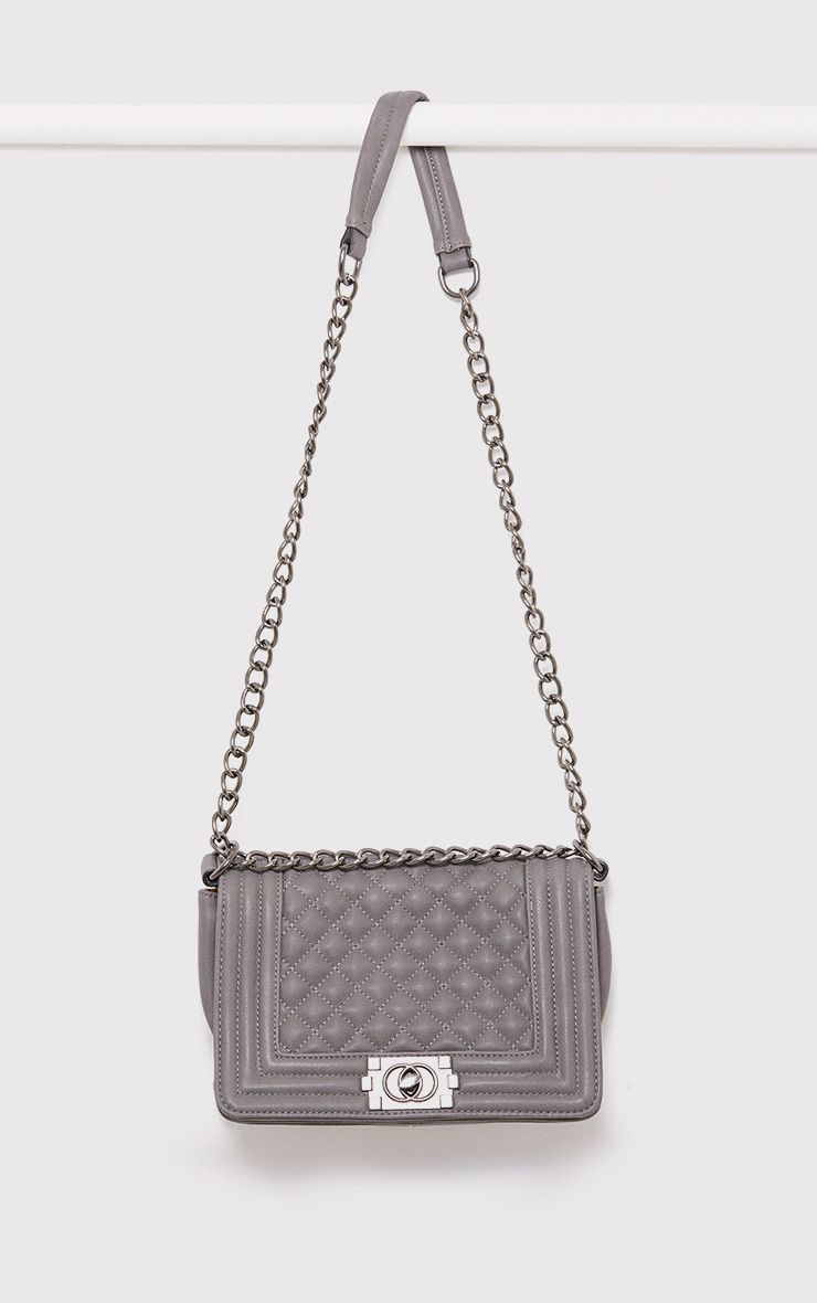 Millen Grey Quilted Chain Strap Bag
