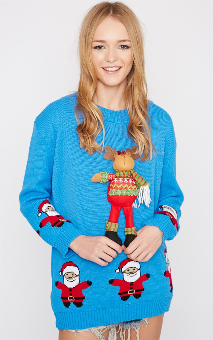 Hartley Blue 3D Rudolph Toy Christmas Jumper  1