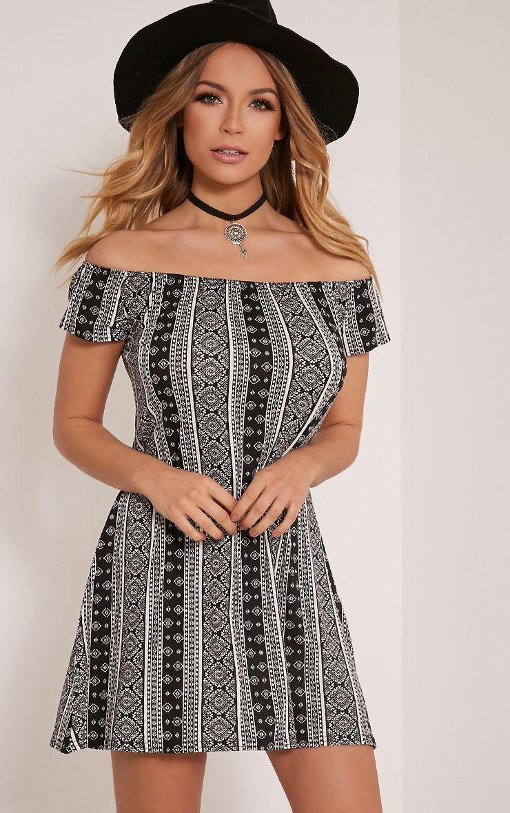 Sadia White Aztec Bardot Mini Dress